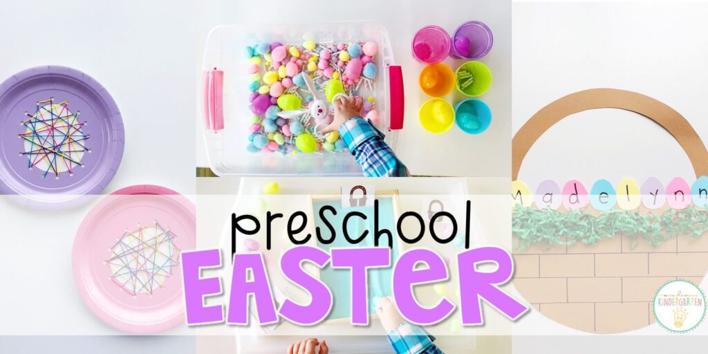 Tons of Easter themed activities and ideas. Weekly plan includes books, literacy, math, science, art, sensory bins, and more! Perfect for spring in tot school, preschool, or kindergarten.