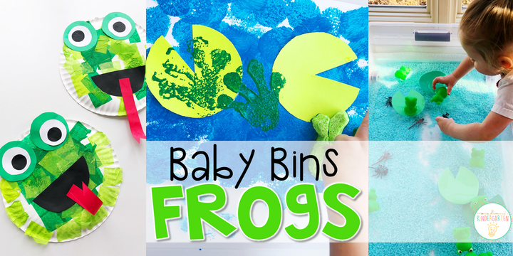 These frog themed sensory bins and activities are great for learning and play and are completely baby safe. Baby Bins are the perfect way to learn, build language, play and explore with little ones between 12-24 months old.
