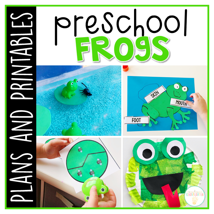 Tons of frog themed activities and ideas. Weekly plan includes books, literacy, math, science, art, sensory bins, and more! Perfect for spring in tot school, preschool, or kindergarten.