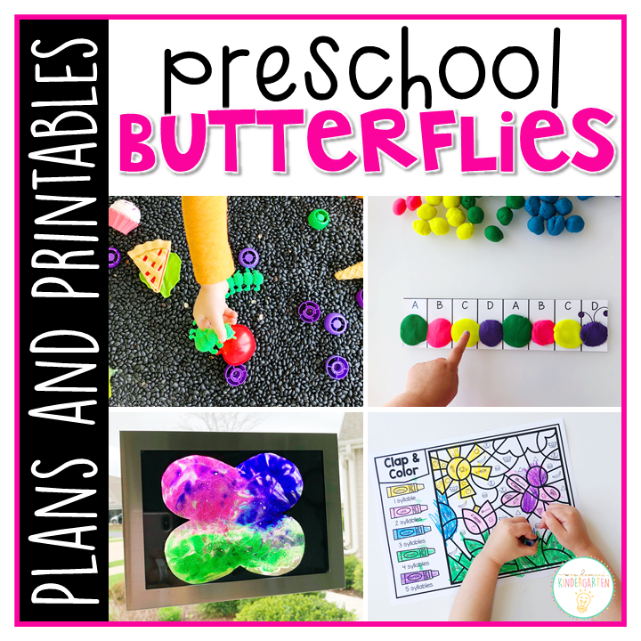 Tons of butterfly themed activities and ideas. Weekly plan includes books, literacy, math, science, art, sensory bins, and more! Perfect for spring in tot school, preschool, or kindergarten.