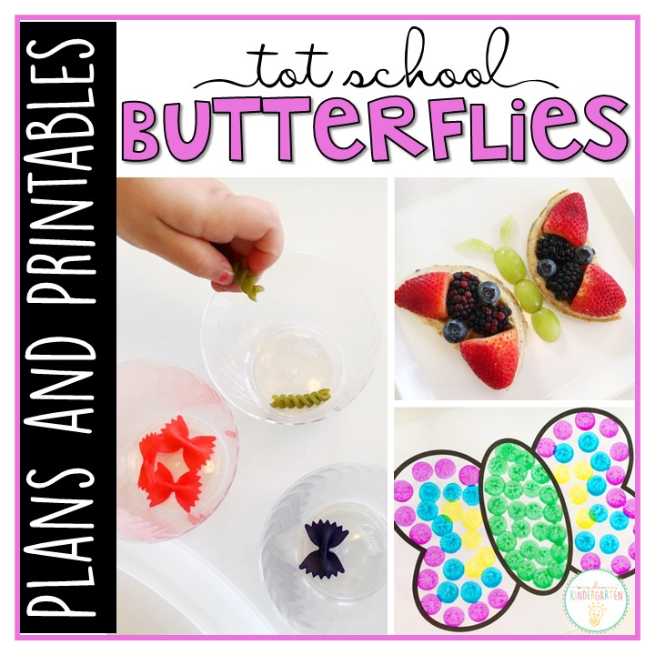 Tons of butterfly themed activities and ideas. Weekly plan includes books, literacy, math, science, art, sensory bins, and more! Perfect for tot school, preschool, or kindergarten.