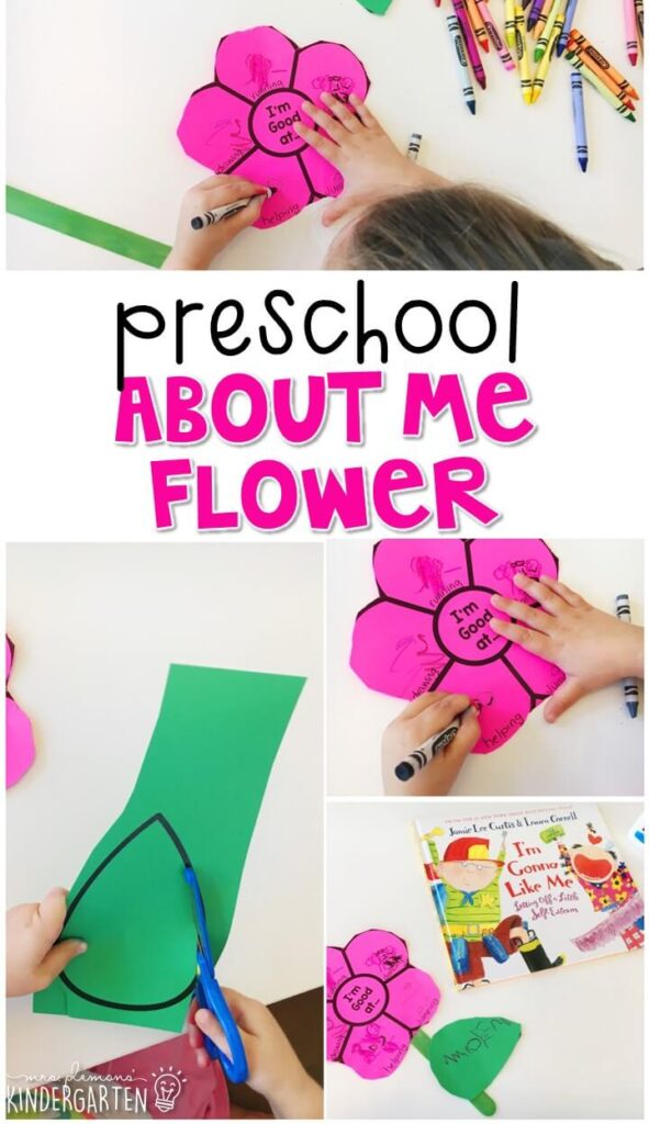 Celebrate your strengths and build fine motor strength with this About Me Flower activity. Great for tot school, preschool, or even kindergarten!