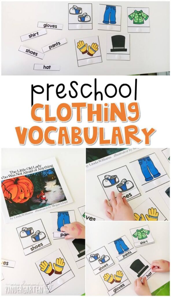 """Practice clothing vocabulary with this matching activity that goes perfectly with """"The Little Old Lady Who was not Afraid of Anything"""". Great for Halloween in tot school, preschool, or even kindergarten!"""