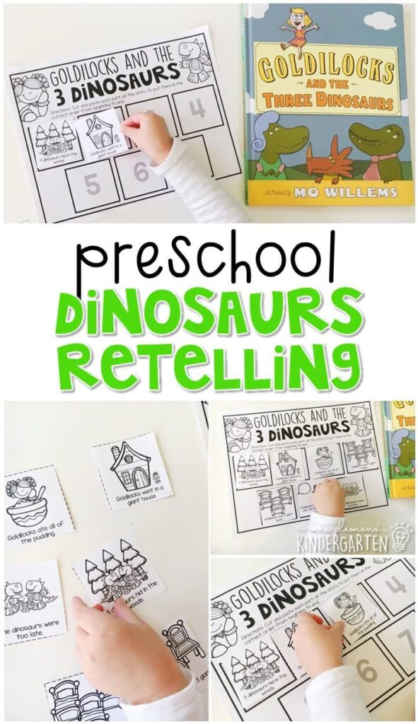 "Practice retelling a story with ""Goldilocks and the 3 Dinosaurs"" story by Mo Willems. Great for a dinosaur theme in tot school, preschool, or even kindergarten!"