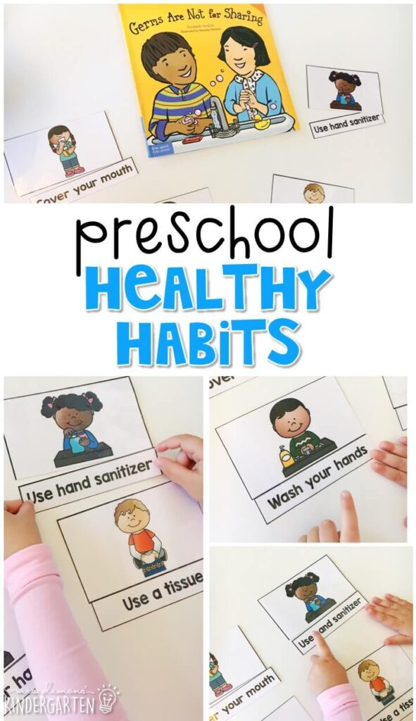 Build healthy habits with Germs are not for Sharing by Elizabeth Verdick. Great for a Healthy Habits theme in tot school, preschool, or even kindergarten.
