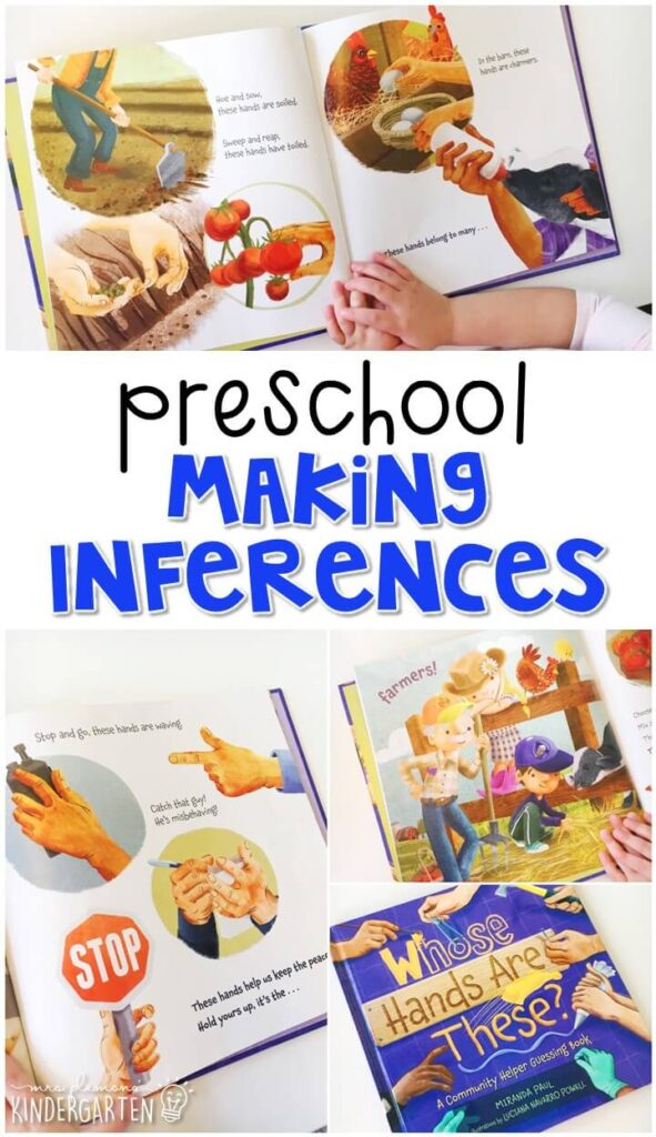 "Practice making inferences with ""Whose Hands are These?"" by Miranda Paul. Great for a community theme in tot school, preschool, or even kindergarten!"