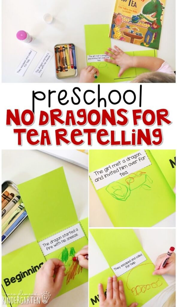 Practice retelling with No Dragons for Tea, a perfect fire safety read aloud for fall. Great for tot school, preschool, or even kindergarten!