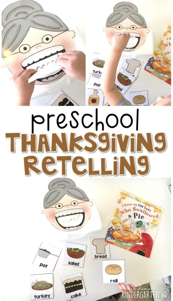 """Practice retelling a story with """"I Know an Old Lady Who Swallowed a Pie"""" by Alison Jackson. Great for a Thanksgiving theme in tot school, preschool, or even kindergarten!"""