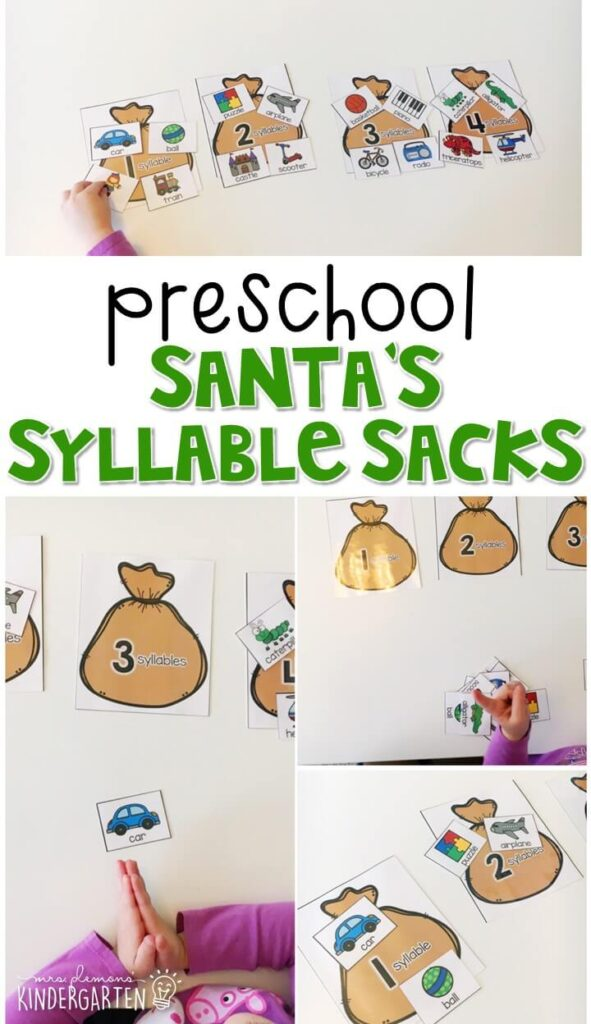These Santa syllable sacks are a fun and easy way to work on counting syllables with a Christmas theme. Great for tot school, preschool, or even kindergarten!