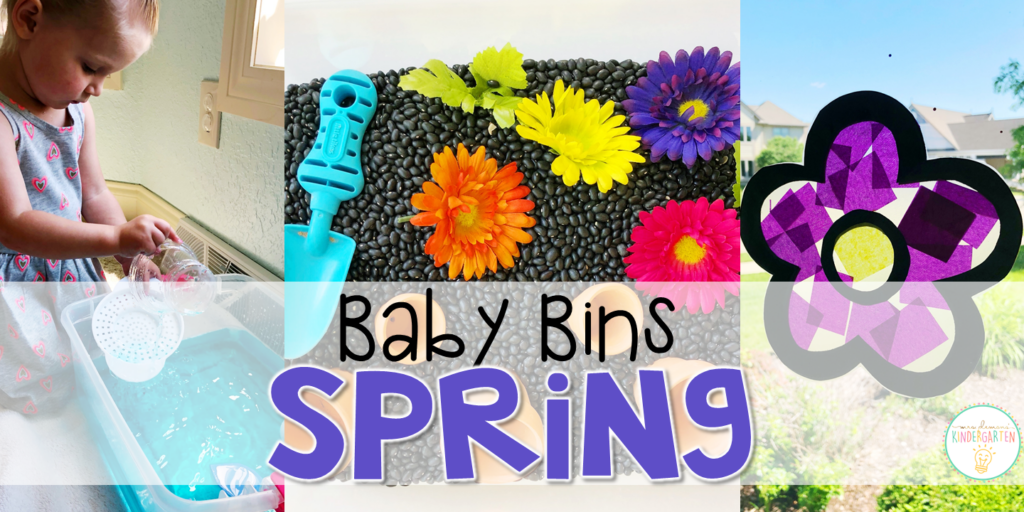 These spring themed sensory bins and activities are great for learning and play and are completely baby safe. Baby Bins are the perfect way to learn, build language, play and explore with little ones between 12-24 months old.