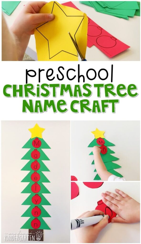 This Christmas tree name craftivity is fun for name writing, recognition, and fine motor practice with a Christmas theme. Great for tot school, preschool, or even kindergarten!
