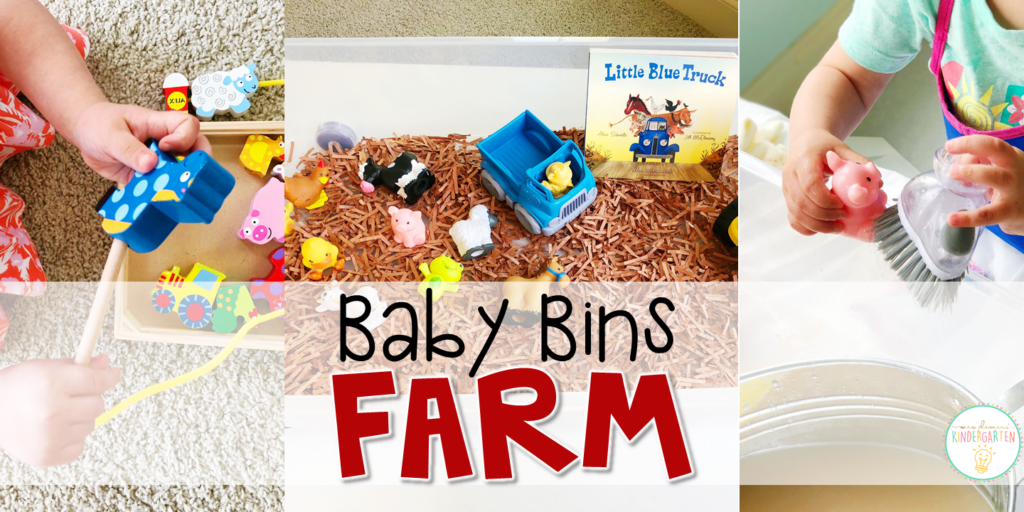 These farm themed sensory bins and activities are great for learning and play and are completely baby safe. Baby Bins are the perfect way to learn, build language, play and explore with little ones between 12-24 months old.