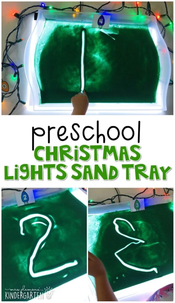 This Christmas lights themed sand tray is great for number writing and fine motor practice with a Christmas theme. Great for tot school, preschool, or even kindergarten!