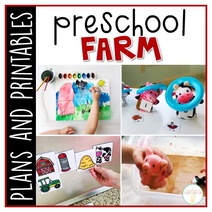 Tons of farm themed activities and ideas. Weekly plan includes books, literacy, math, science, art, sensory bins, and more! Perfect for spring in tot school, preschool, or kindergarten.