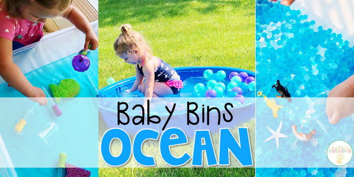 These ocean themed sensory bins and activities are great for learning and play and are completely baby safe. Baby Bins are the perfect way to learn, build language, play and explore with little ones between 12-24 months old.
