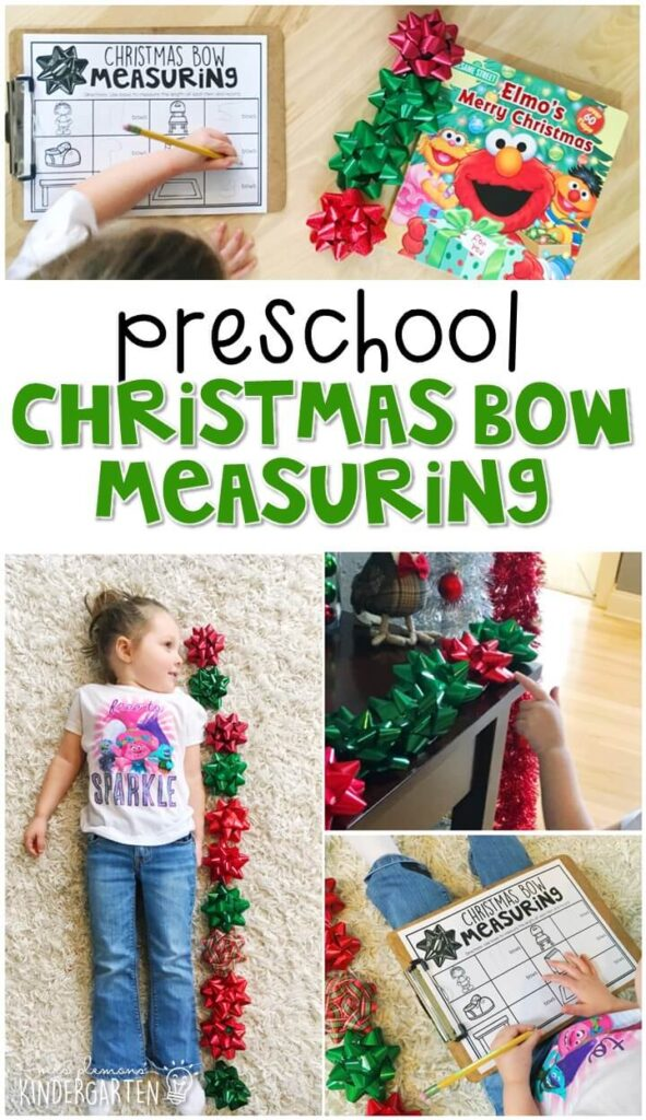 Practice measurement with this Christmas bow measuring. Perfect for a Christmas theme in tot school, preschool, or even kindergarten!