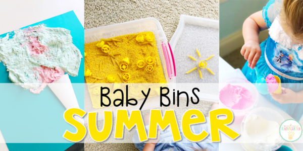 These summer themed sensory bins and activities are great for learning and play and are completely baby safe. Baby Bins are the perfect way to learn, build language, play and explore with little ones between 12-24 months old.