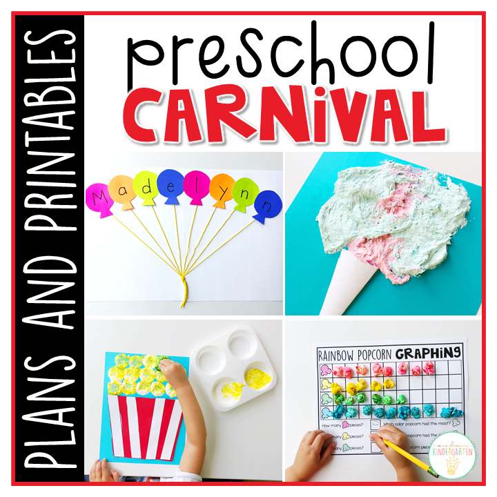 Tons of carnival themed activities and ideas. Weekly plan includes books, literacy, math, science, art, sensory bins, and more! Perfect for tot school, preschool, or kindergarten.