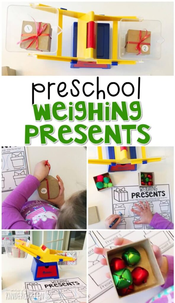 Practice measuring weight with this weighing present activity. Perfect for a Christmas theme in tot school, preschool, or even kindergarten!