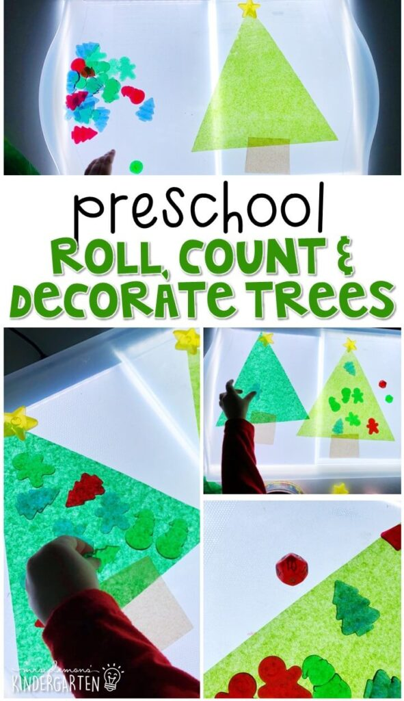 These roll, count and decorate Christmas trees are a super fun way to practice number identification, counting, and fine motor skills with a Christmas theme. Great for tot school, preschool, or even kindergarten!