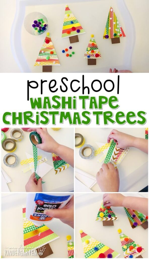 This washi tape Christmas tree craft was a fun way to create our own decorations. Perfect for a Christmas theme in tot school, preschool, or even kindergarten!