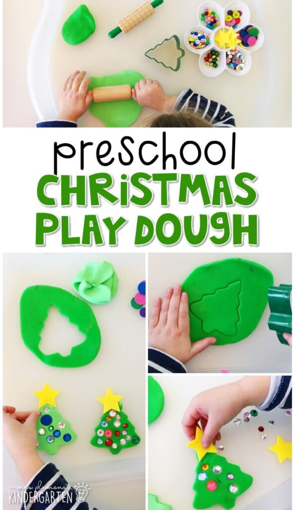 We LOVE this Christmas play dough tray. Perfect for exploration with a Christmas theme in tot school, preschool, or even kindergarten!