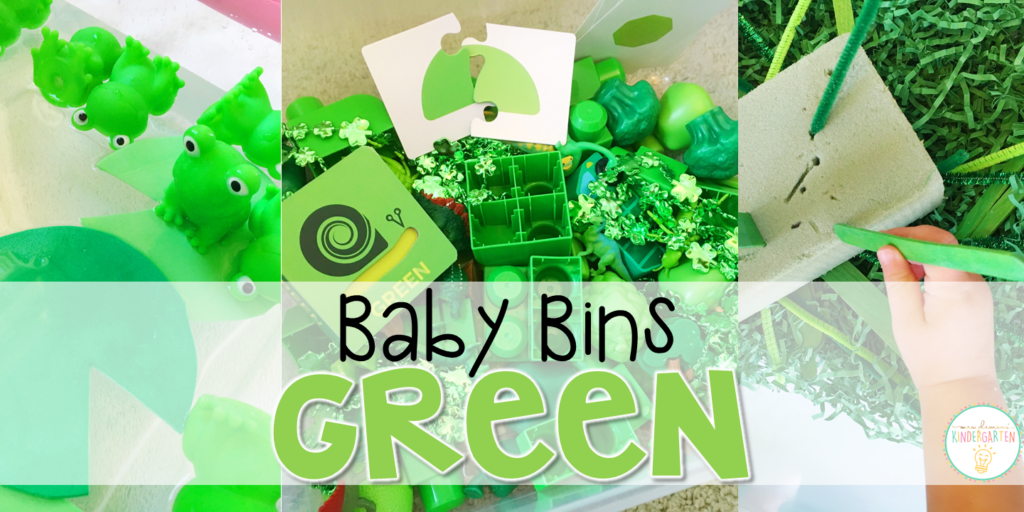 These green themed sensory bins and activities are great for learning colors and completely baby safe. Baby Bins are the perfect way to learn, build language, play and explore with little ones between 12-24 months old.