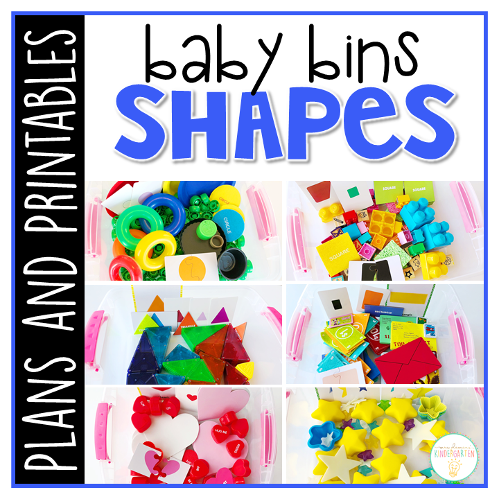 Tons of shape themed activities and ideas. Weekly plans include a book and 5 activities to try out (a mixture of sensory bins, crafts, fine motor and gross motor activities)! These Baby Bin plans are perfect for learning with little ones between 12-24 months old.