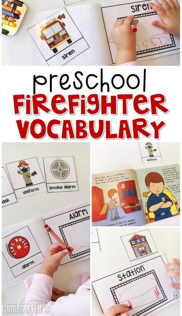 Read about firefighter, then use word cards to illustrate your own firefighter vocabulary book. Great for tot school, preschool, or even kindergarten!