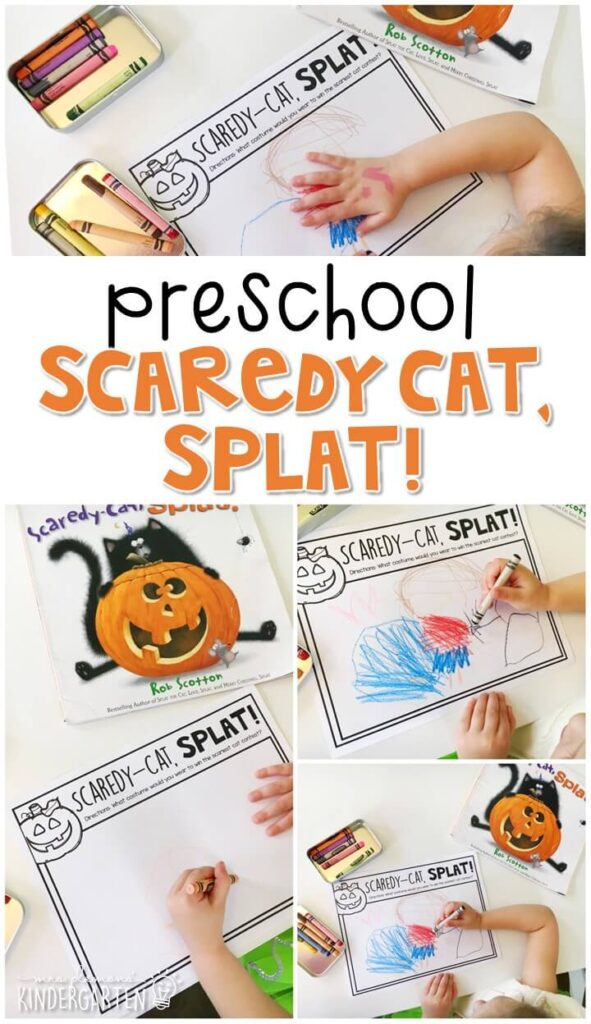 """Work on reading comprehension with this reading response activity that goes perfectly with """"Scaredy-Cat, Splat!"""" by Rob Scotton. Great for Halloween in tot school, preschool, or even kindergarten!"""
