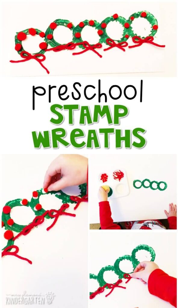 We had a blast making these Christmas stamp wreaths for out Christmas theme. Perfect for tot school, preschool, or even kindergarten!