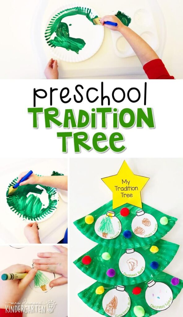 We finished off our Christmas theme talking about traditions and making these tradition trees to share our favorite holiday traditions. Great for tot school, preschool, or even kindergarten!