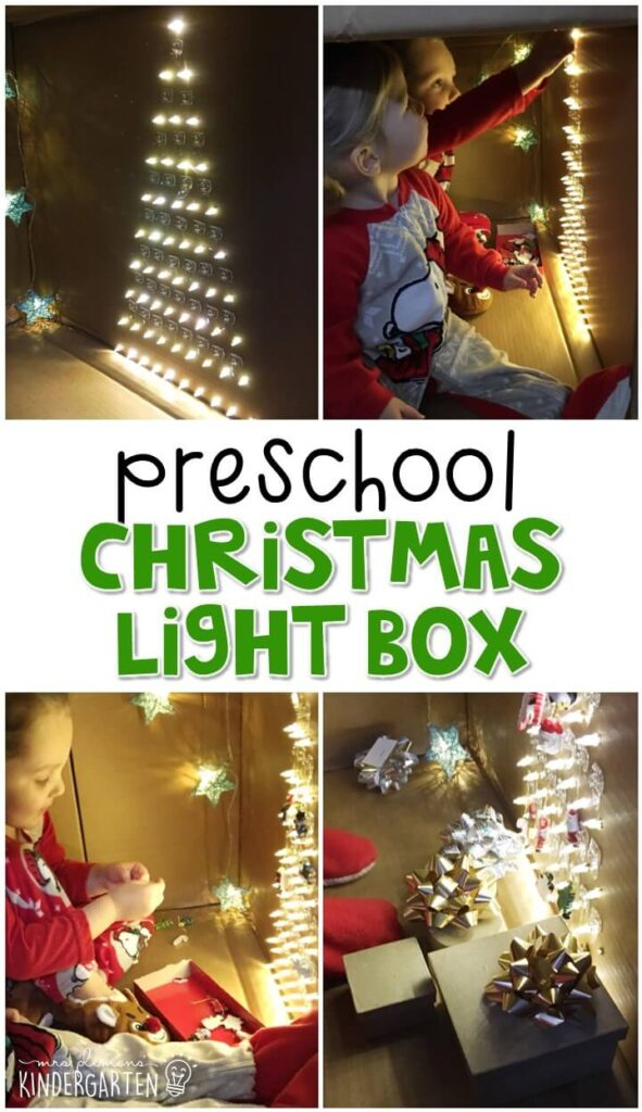 We LOVE this magical Christmas light box. Perfect for lots of exploration with a Christmas theme in tot school, preschool, or even kindergarten!