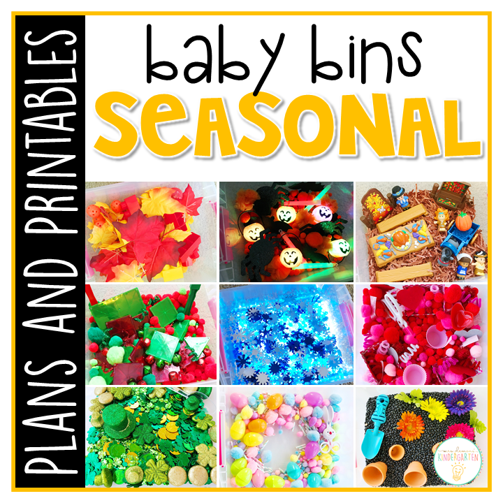 Tons of seasonal themed activities and ideas. Weekly plans include a book and 5 activities to try out (a mixture of sensory bins, crafts, fine motor and gross motor activities)! These Baby Bin plans are perfect for learning with little ones between 12-24 months old.