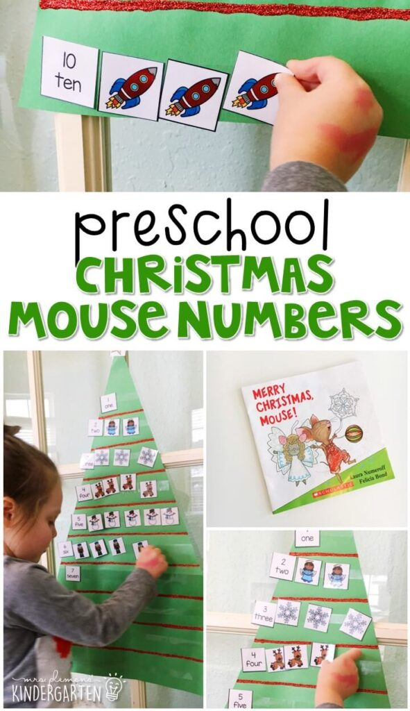 "Practice counting and number words with ""Merry Christmas Mouse!"" by Laura Numeroff. Learning is more fun when it involves movement! Great for tot school, preschool, or even kindergarten!"