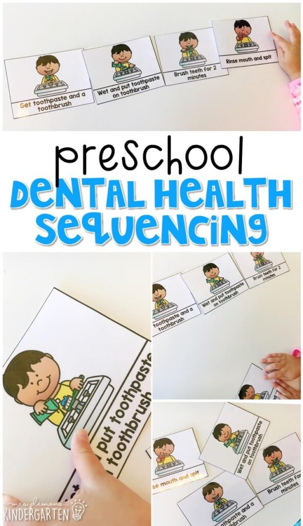 Read dental health, then practice sequencing the steps for brushing your teeth. Great for tot school, preschool, or even kindergarten!