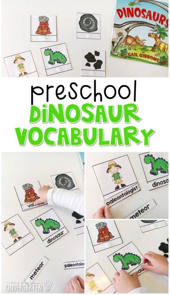Practice dinosaur vocabulary with this word matching activity. Great for tot school, preschool, or even kindergarten!