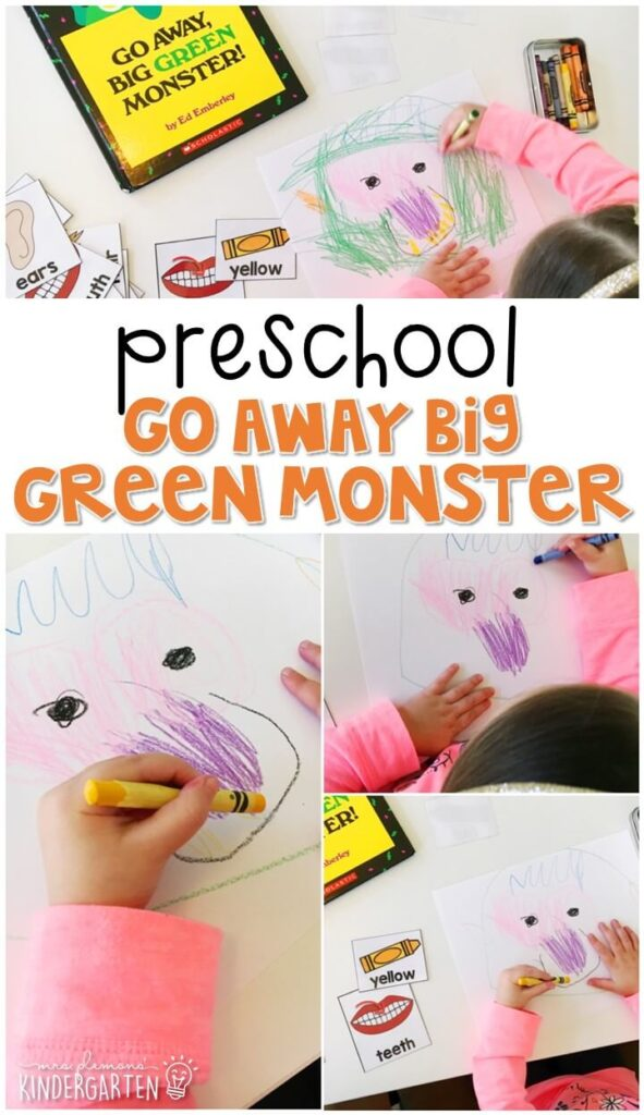 """Practice color and body part vocabulary and following directions with this reading and drawing activity that goes perfectly with """"Go Away Big Green Monster"""" by Ed Emberley. Great for Halloween in tot school, preschool, or even kindergarten!"""