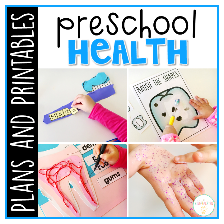 Tons of health themed activities and ideas. Weekly plan includes read alouds with comprehension activities, literacy practice, math skills, sensory bins, science and art! Perfect for science in tot school, preschool, or kindergarten.