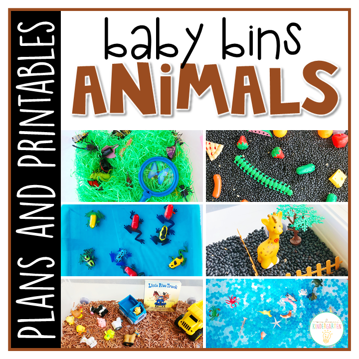 Tons of animal themed activities and ideas. Weekly plans include a book and 5 activities to try out (a mixture of sensory bins, crafts, fine motor and gross motor activities)! These Baby Bin plans are perfect for learning with little ones between 12-24 months old.