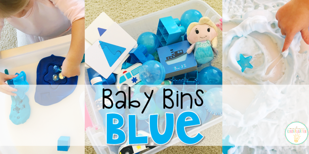 These blue themed sensory bins and activities are great for learning colors and completely baby safe. Baby Bins are the perfect way to learn, build language, play and explore with little ones between 12-24 months old.