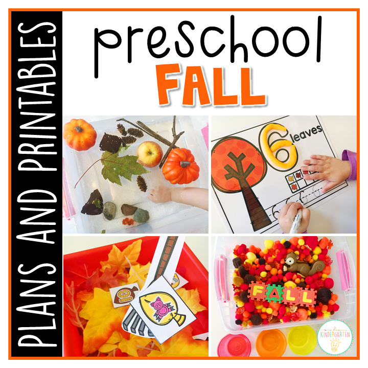 Tons of fall themed activities and ideas. Weekly plan includes read alouds with comprehension activities, literacy practice, math skills, sensory bins, science and art! Perfect for fall in tot school, preschool, or kindergarten.