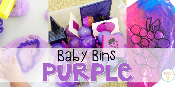 These purple themed sensory bins and activities are great for learning colors and completely baby safe. Baby Bins are the perfect way to learn, build language, play and explore with little ones between 12-24 months old.