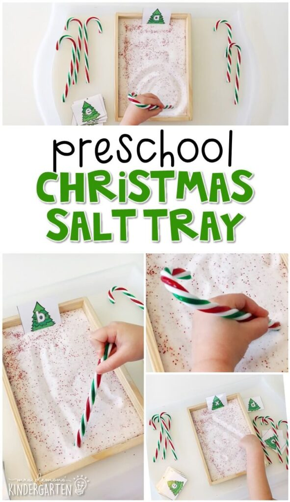 This Christmas themed sand tray is fun for letter writing and fine motor practice with a Christmas theme. Great for tot school, preschool, or even kindergarten!