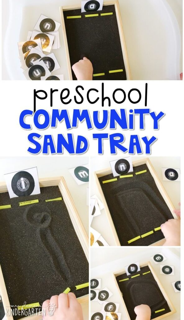 This road themed sand tray is fun for letter writing and fine motor practice with a community theme. Great for tot school, preschool, or even kindergarten!