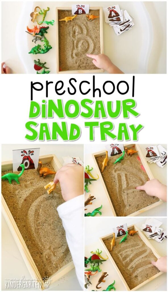 This dinosaur themed sand tray is fun for letter writing and fine motor practice with a dinosaur theme. Great for tot school, preschool, or even kindergarten!