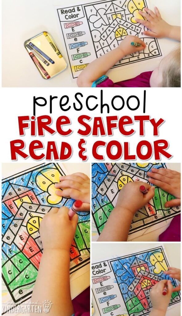 This fire safety read & color activity is great for letter recognition and fine motor practice. Great for tot school, preschool, or even kindergarten!