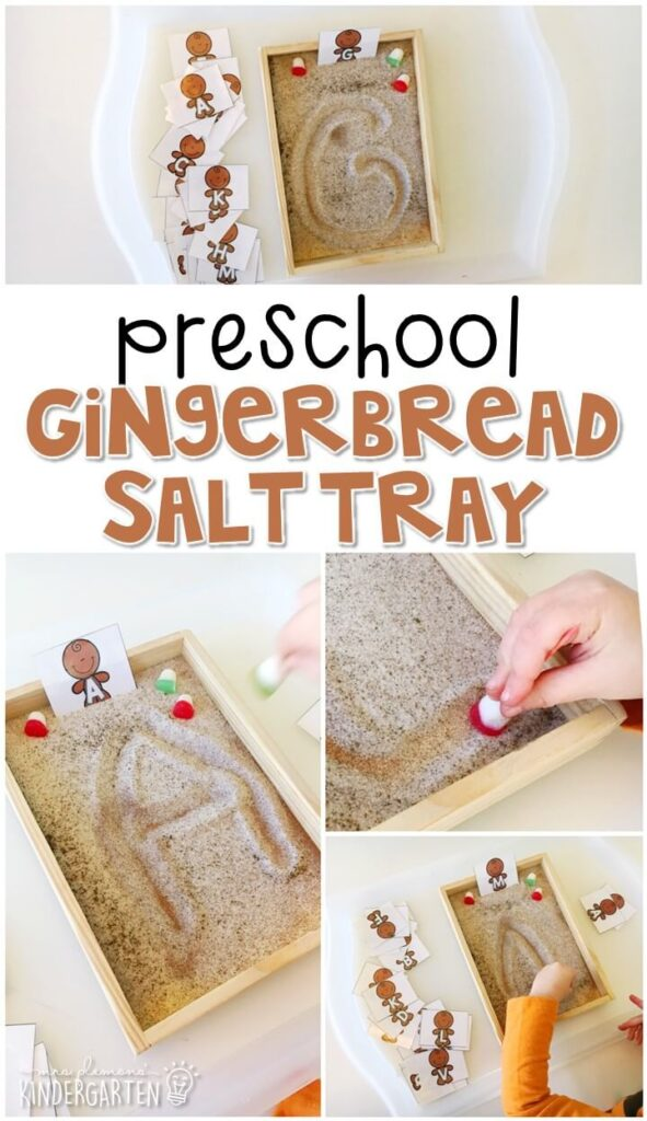 This gingerbread themed salt tray is fun for letter writing and fine motor practice with a gingerbread theme. Great for tot school, preschool, or even kindergarten!