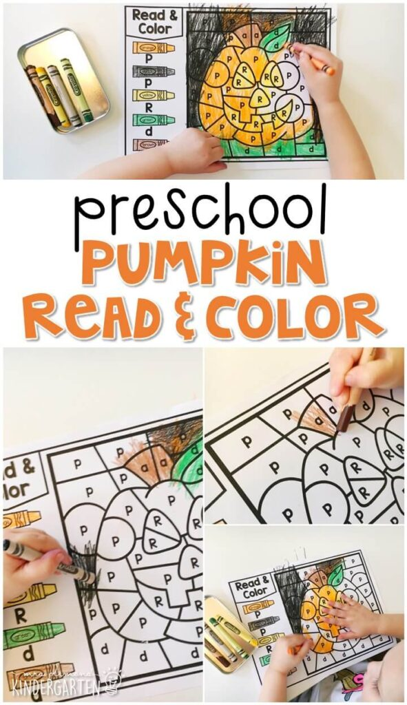 This pumpkin read & color activity is great for letter recognition and fine motor practice. Great for Halloween in tot school, preschool, or even kindergarten!