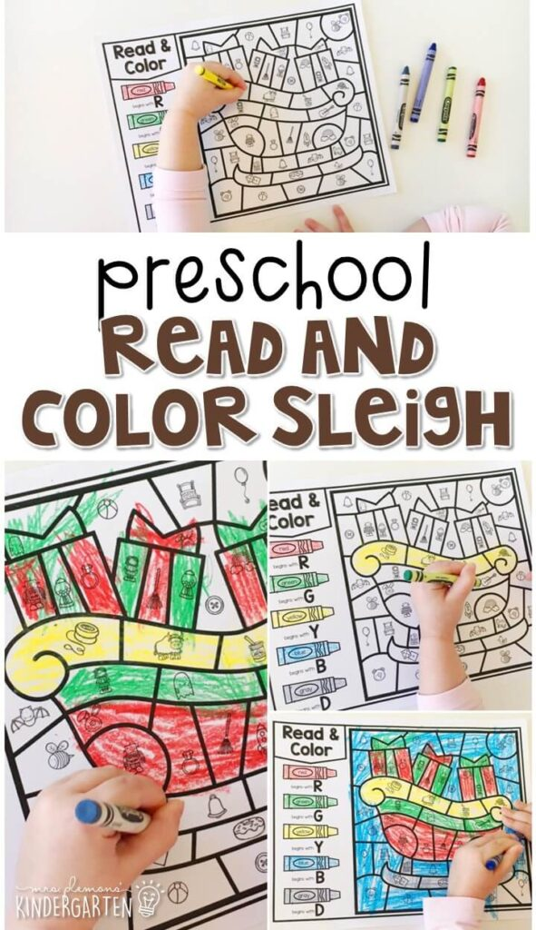 This read & color sleigh activity is great for beginning sound and fine motor practice. Great for a reindeer theme in tot school, preschool, or even kindergarten!